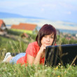 Stock Photo: Woman using laptop