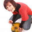 Royalty-Free Stock Photo: Girl and pumpkinhead