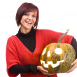 Girl and pumpkinhead — Stock Photo #6872190