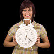 Woman holding clock — Stockfoto #6872191