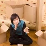 Woman and box — Stock Photo