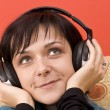 Woman with headphones — Stock Photo