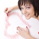 mujer dibujo-la forma del corazón — Foto de Stock