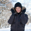 Young woman in winter forest — Stock Photo #6872435