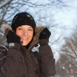 Young woman in winter forest — Stock Photo #6872556