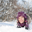 Stock Photo: Womin snow