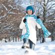 Woman plays with a snow — Stock Photo #6872566
