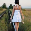 Woman on the railway — Foto de Stock