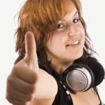 Woman listening to music — Stock Photo #6872914