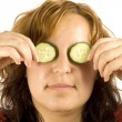 Woman and cucumber — Stock Photo #6872967