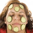 Woman and cucumber — Stock Photo #6872973