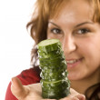 Woman and cucumber — Stock Photo #6873002