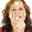 Woman and cucumber — Stock Photo #6873003