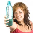 Woman with bottle of water — Foto Stock