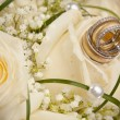 Wedding rings and roses — Stockfoto