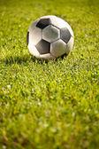 Balón de fútbol sobre césped — Foto de Stock