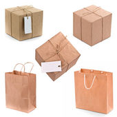 Gift box and bags — Stock Photo