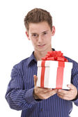 Man with gift — Stock Photo