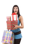 Girl in blue with group gift box — Stockfoto