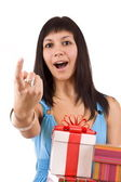 Woman with some presents — Stock Photo