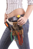 Woman with tool bag — Stock Photo
