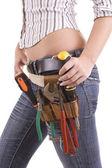 Woman with tool bag — Stock Photo