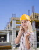 Ung kvinna arkitekt — Stockfoto