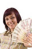 Dinheiro de exploração de mulher — Foto Stock