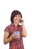 Woman with cellphone — Stockfoto
