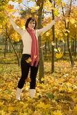 Kadın doğum sonbahar yaprak — Stok fotoğraf