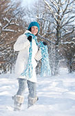 Woman plays with a snow — Stock Photo