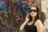 Woman with headphones — Stockfoto