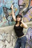 Woman with headphones — Stockfoto