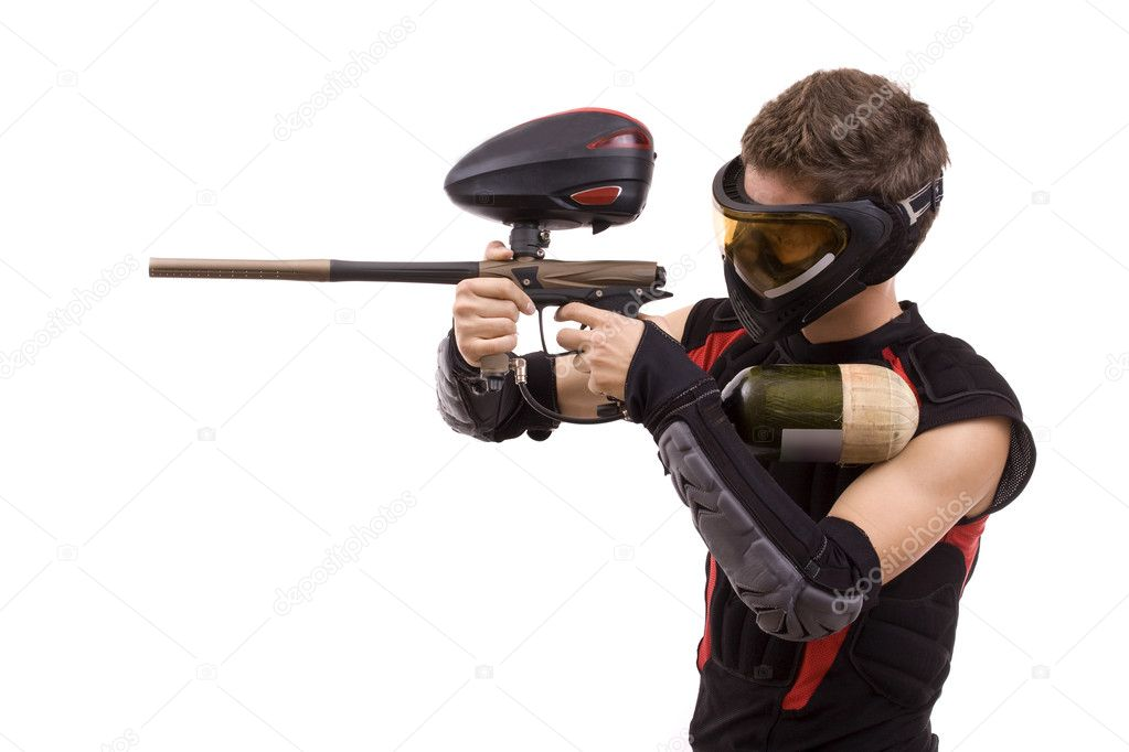 Closeup paintball player, isolated in white  Stock Photo #6871472