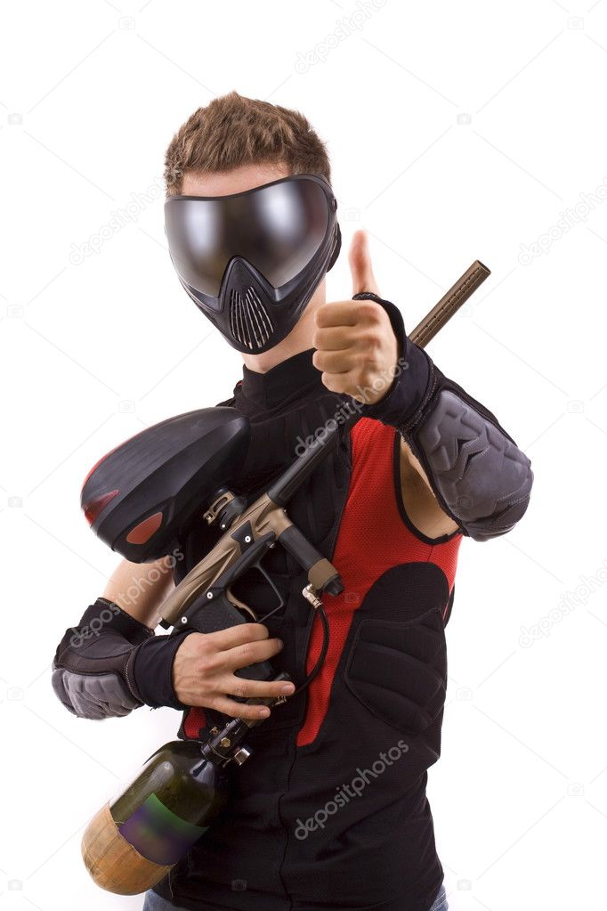 Closeup paintball player, isolated in white  Stock Photo #6871485