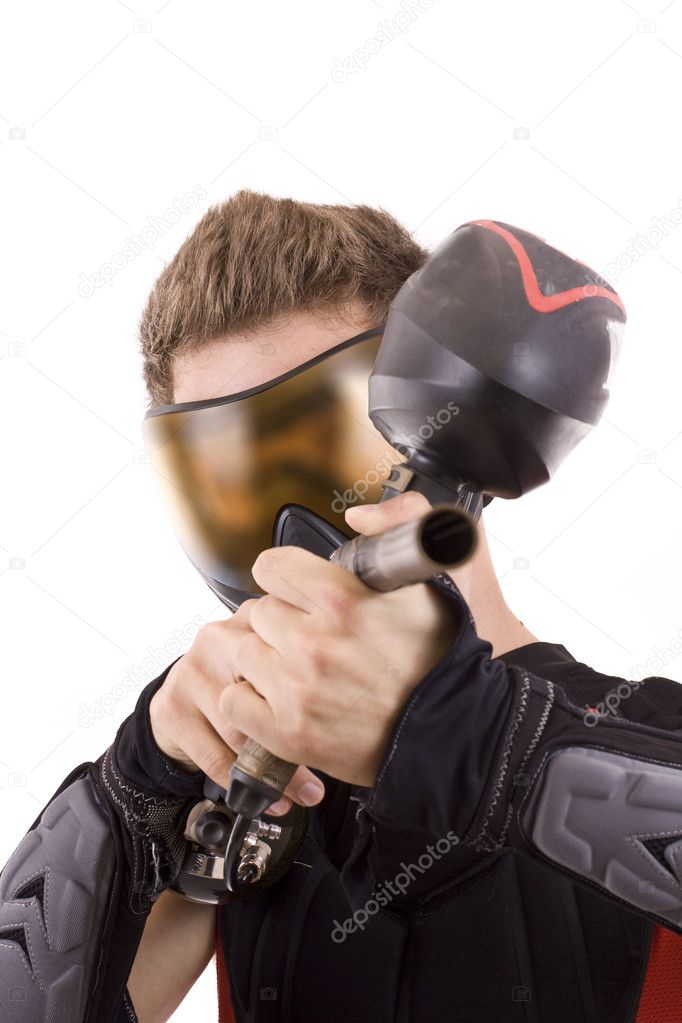 Closeup paintball player, isolated in white — Stockfoto #6871521