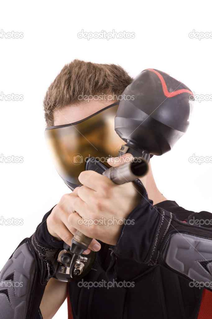 Closeup paintball player, isolated in white — Stok fotoğraf #6871521