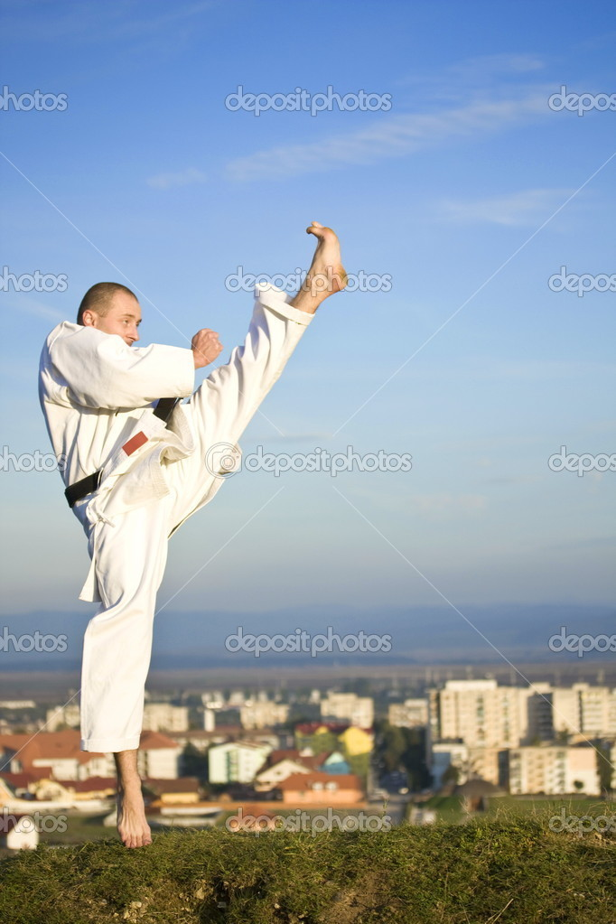 Young adult men practicing Karate outdoor, city in background — Stock Photo #6871805