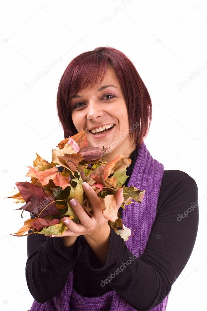 Young woman having fun at the autumn leaves — Stock Photo #6872268