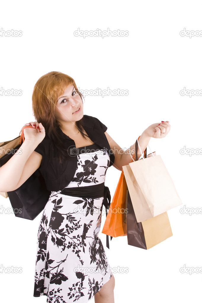 Lovely woman with shopping bags over white  — Stock Photo #6872858
