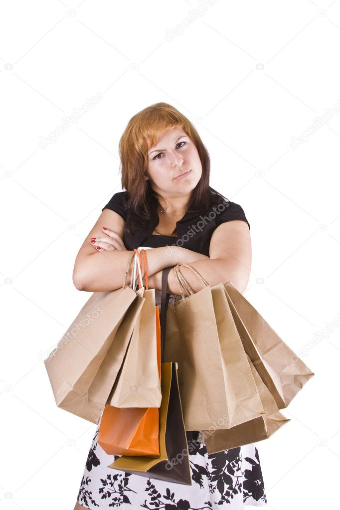 Lovely woman with shopping bags over white  — Stock Photo #6872862