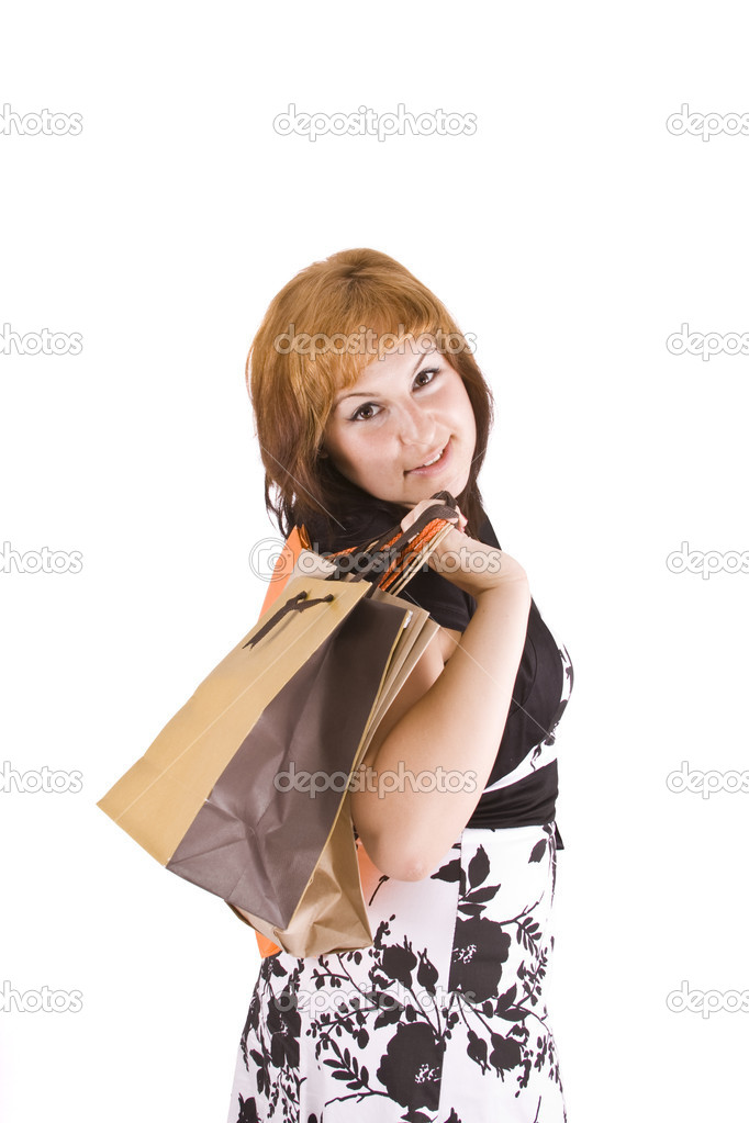 Lovely woman with shopping bags over white  — Stock Photo #6872867