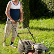 Stock Photo: Man mowing the lawn