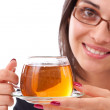 Female having cup of tea — Stock Photo #7515733