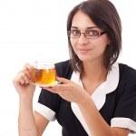Female having cup of tea — Stock Photo