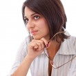 Business woman holding glasses — Stock Photo #7515785