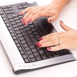 Woman using computer — Stock Photo