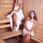 Two women enjoying a hot sauna — Stock Photo