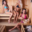 Friends using sauna — Stock Photo