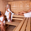 Three women enjoying a hot sauna — Stock Photo #7516068